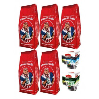 Zrnková káva - Mami's Caffe Espresso Crema zrnková káva 5x 1000 g + 2x dárek porcovaný čaj