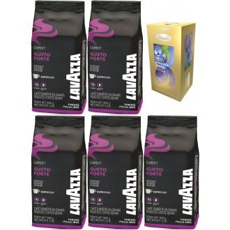Zrnková káva - Lavazza Bar Gusto Forte káva zrnková 5x 1000g + dárek porcovaný čaj