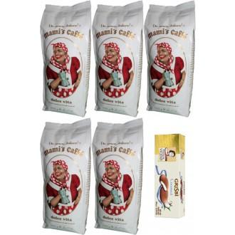 Zrnková káva - Mami's Caffé Dolce Vita zrnková káva 5x 1000 g + dárek sušenky s kokosovou náplní 150g