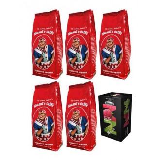 Zrnková káva - Mami's Caffe Espresso Crema zrnková káva 5x 1000 g + porcovaný čaj