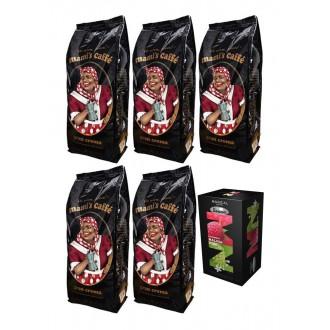 Zrnková káva - Mamis Caffe Gran Crema zrnková káva 5x 1000 g + dárek porcovaný čaj