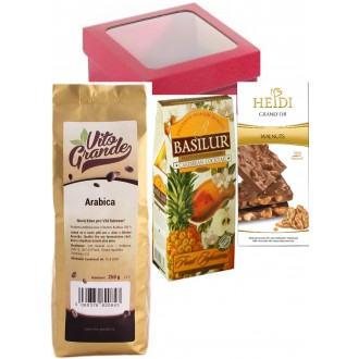 Vánoční balíčky - Vito Grande 100% Arabica káva zrnková 250 g+Heidi Grand Or Mléčná čokoláda vlašský ořech 100 g+BASILUR Fruit Caribbean Cocktail papír 100 g