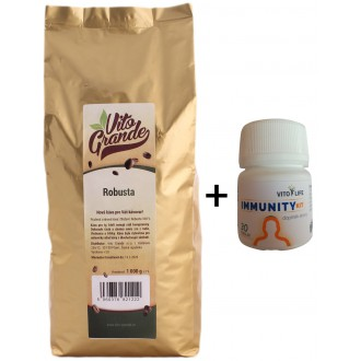 Zrnková káva - Vito Grande 100% Robusta káva zrnková 1000 g + dárek IMMUNITY Kit
