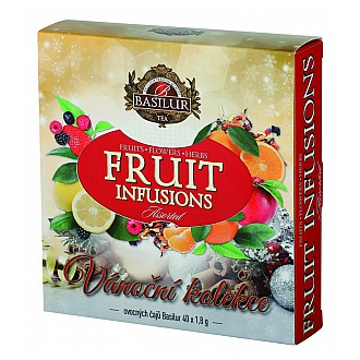 Vánoční čaje - BASILUR Fruit Infusions Assorted Vánoční přebal 40 gastro sáčků x 1,8 g