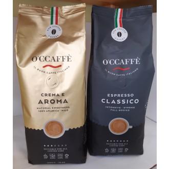 Zrnková káva - O'Ccaffé Espresso Classico + Crema e Aroma 2 x 1000 g
