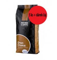 Mami's Caffé Gran Crema zrnková káva 5 x 1 000 g + dárek čaj